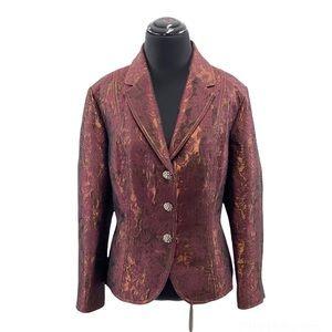 The Limited Women's Brocade Jacquard Wool Blend Burgundy Shimmer Blazer Size 12